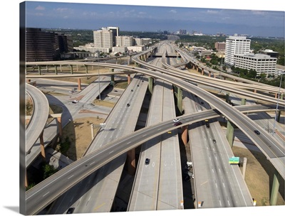 High five interchange on quiet Sunday morning in Dallas, Texas.