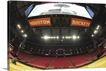 Houston Rockets logo and big screen at the Toyota Center in Houston, Texas