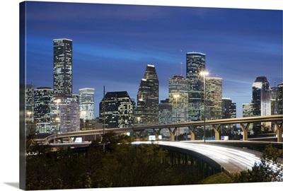 Houston skyline at dusk, Texas