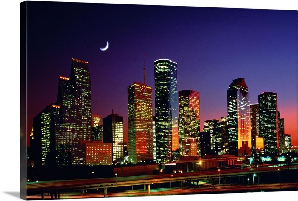 Houston Skyline At Night Texas Wall Art Canvas Prints
