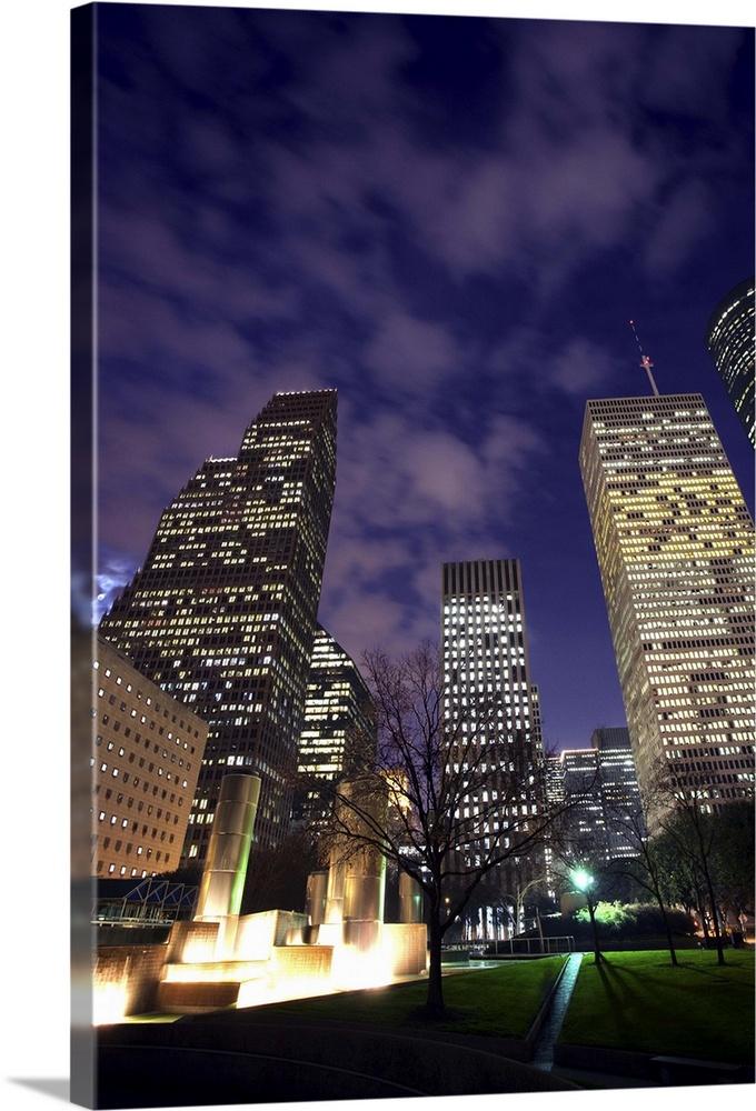 Houston Skyline At Night, Texas