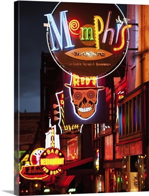Illuminated bar signs on Beale Street in Memphis, Tennessee