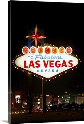Illuminated welcome sign at night, Las Vegas, Nevada