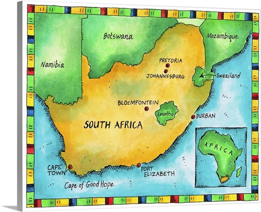 Illustrated map of south africa wall art canvas prints framed illustrated map of south africa canvas gumiabroncs Images