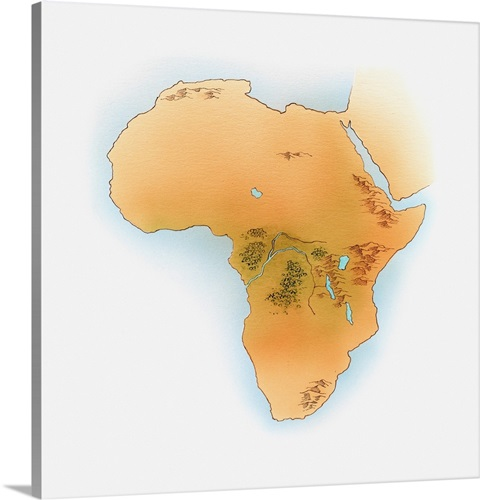 Illustration Of Map Of Africa Showing Congo River Rift Valley And - World map congo river