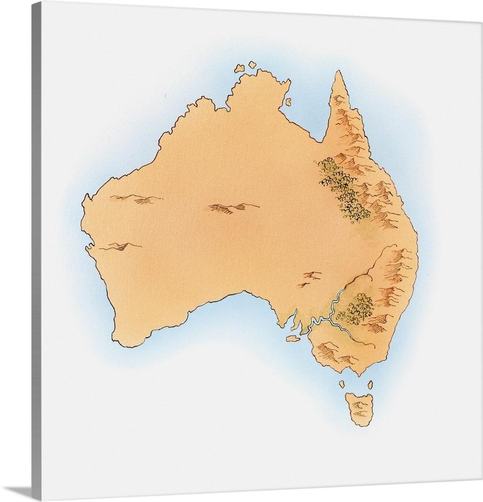Australia Map Simple.Illustration Of Simple Map Of Australia And Tasmania