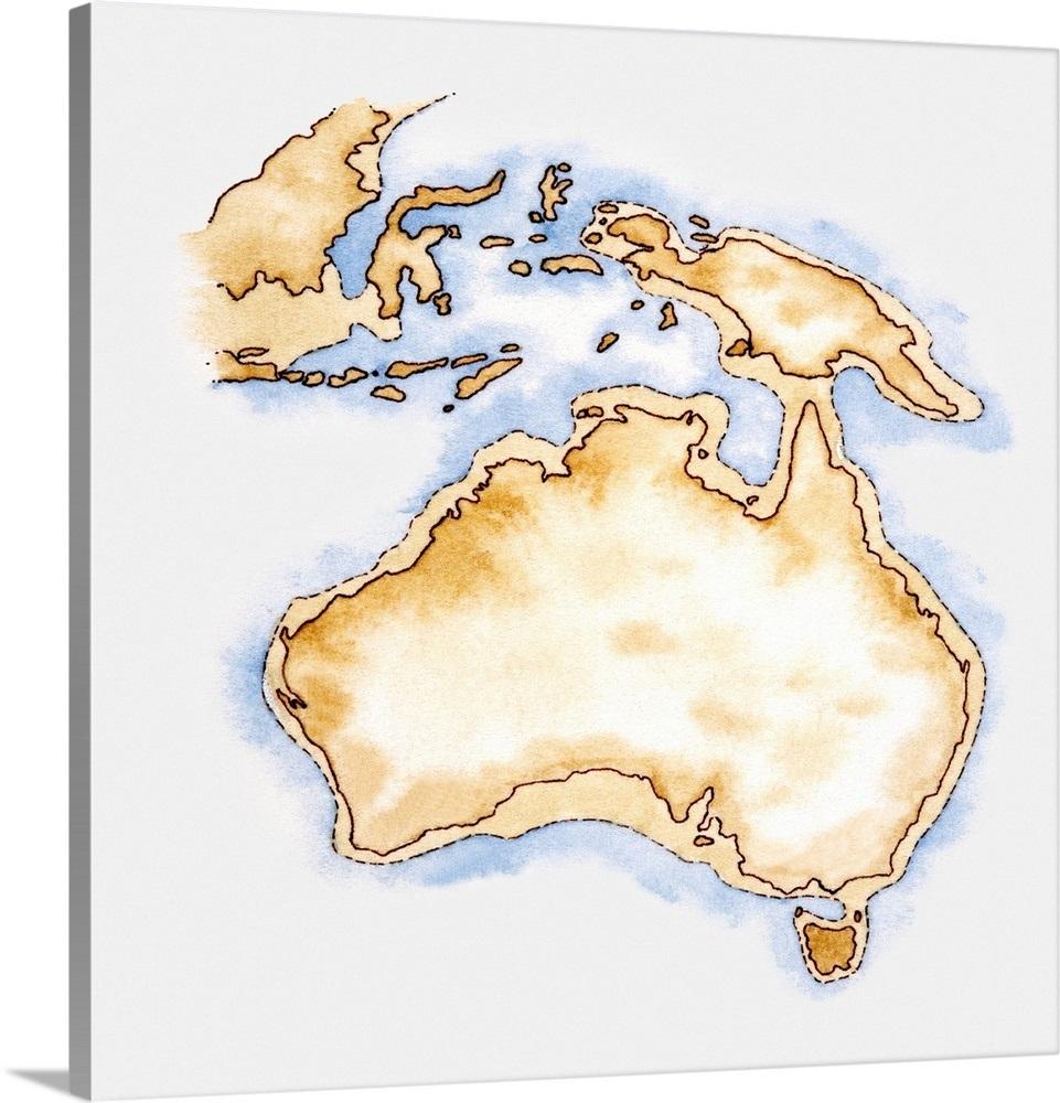 Outline Map Of Australia.Illustration Of Simple Outline Map Of Australia Wall Art Canvas