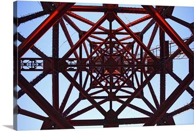 Inside tower of crane.