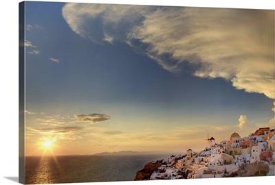 Island sunset and beautiful clouds