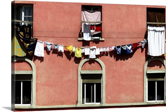 Italian style architecture in Tirana with washing hanging from