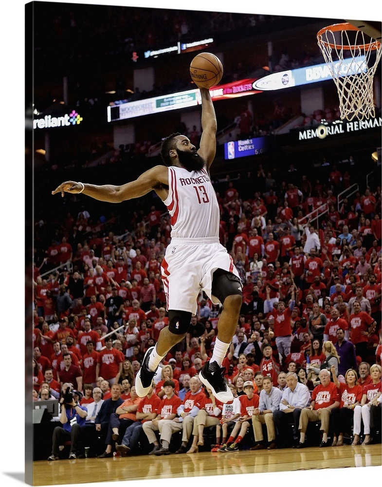 73d203ca72fe James Harden 13 of the Houston Rockets drives to the basket for a dunk Wall  Art