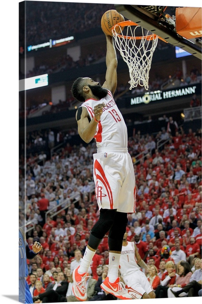 00a9074f6175 James Harden of the Houston Rockets dunks in the first half against the  Dallas Mavericks Wall Art