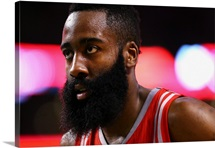 James Harden of the Houston Rockets looks on during the third quarter