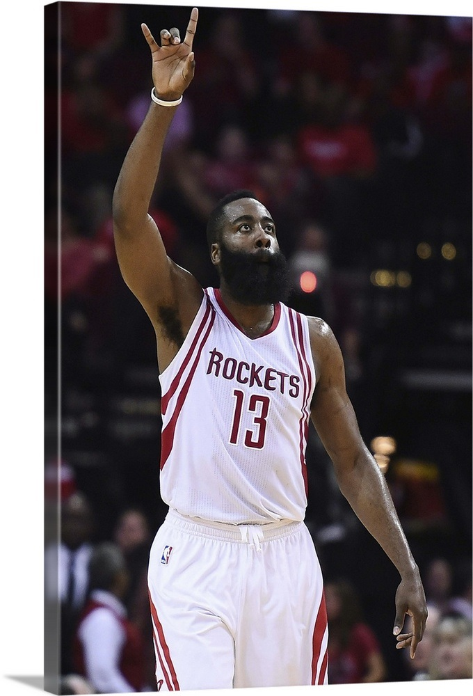 ebea55fbf869 James Harden of the Houston Rockets reacts to a three point shot Wall Art
