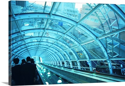 Japan, Tokyo, Passengers on escalator at station