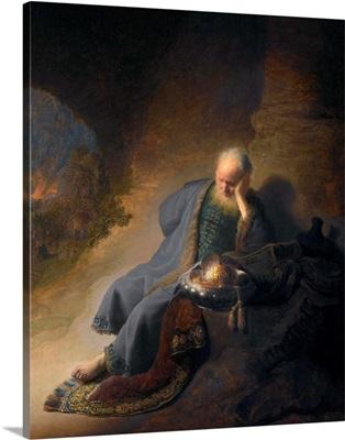Jeremiah Lamenting The Destruction Of Jerusalem By Rembrandt Van Rijn