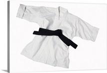 Karate uniform with black belt