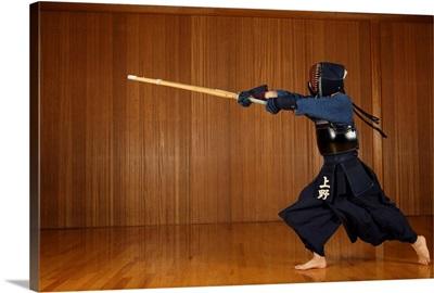 Kendo Fencer Practicing