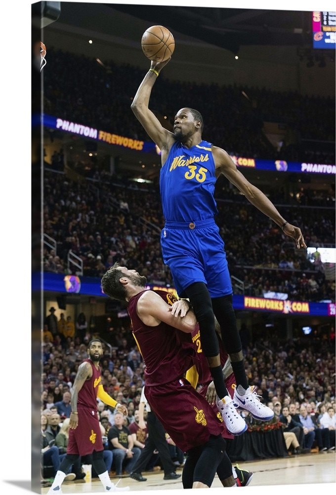 9c95ce4794fa Kevin Durant 35 of the Golden State Warriors tries to dunk over Kevin Love  Wall Art