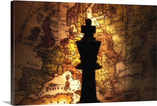 King chess piece on old world map wall art canvas prints framed king chess piece on old world map gumiabroncs Image collections