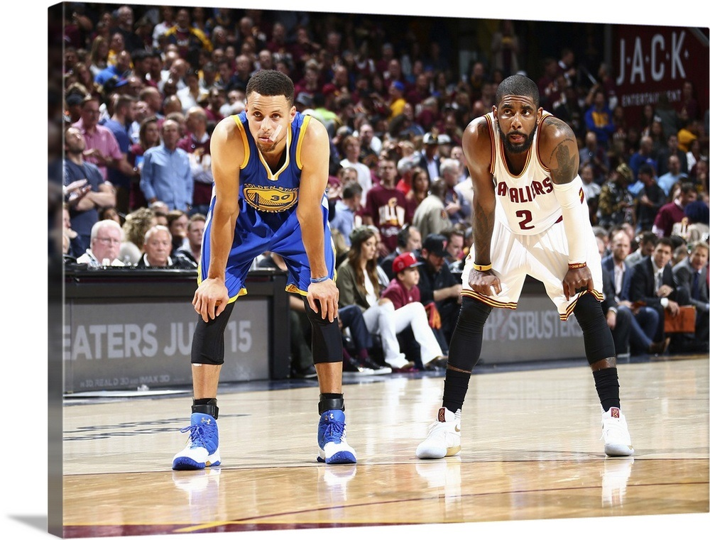 check out 6e0be d0921 Kyrie Irving and Stephen Curry look on during Game 3, NBA Finals 2016