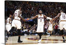 Kyrie Irving, LeBron James and Tristan Thompson, Game 3, NBA Finals 2016