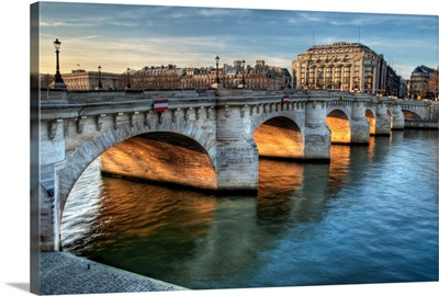 La Seine, Pont-Neuf and La Samaritaine with sunset golden light, Paris, France.