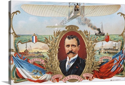 Label Depicting Mr. Bleriot's First Flight Across The Channel