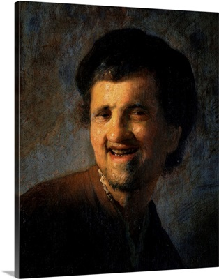 Laughing Young Man By Rembrandt Van Rijn Or Studio