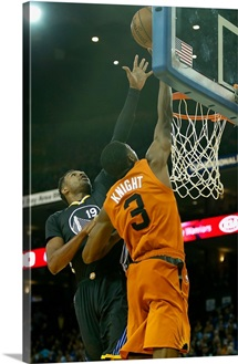 Leandro Barbosa of the Golden State Warriors blocks a shot by Brandon Knight