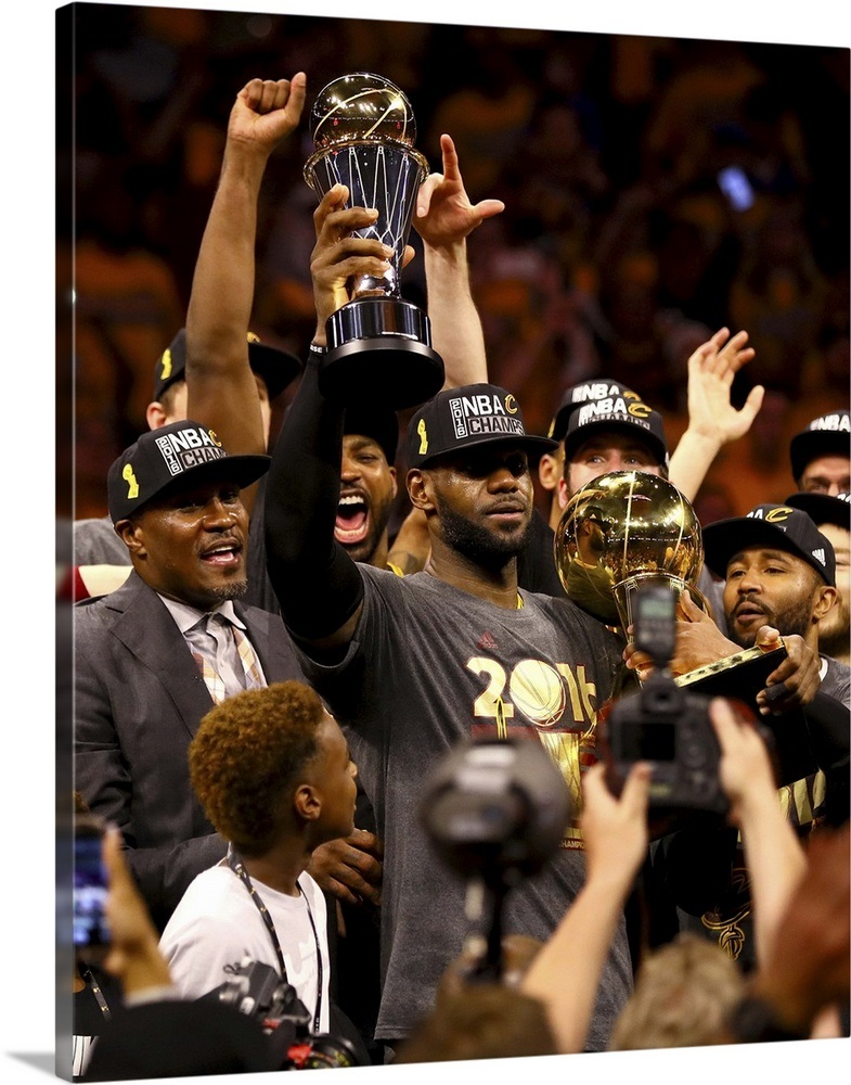 0dac3b19686 LeBron James of the Cavaliers holds the Larry O Brien Championship Trophy  Wall Art