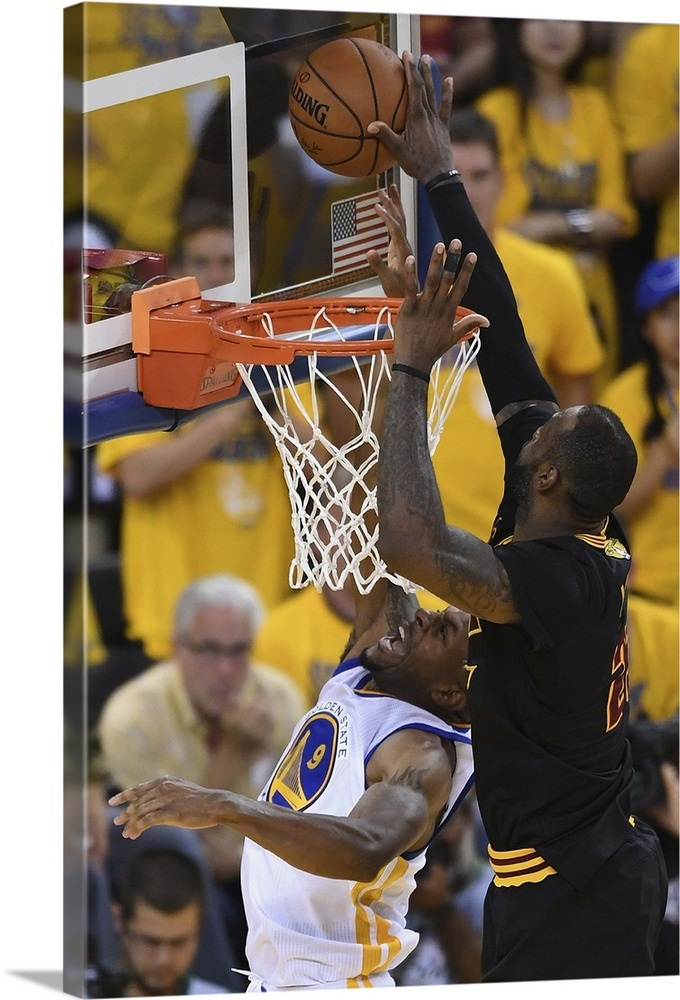LeBron James of the Cleveland Cavaliers blocks a shot by Andre Iguodala  Wall Art 9bfefc222