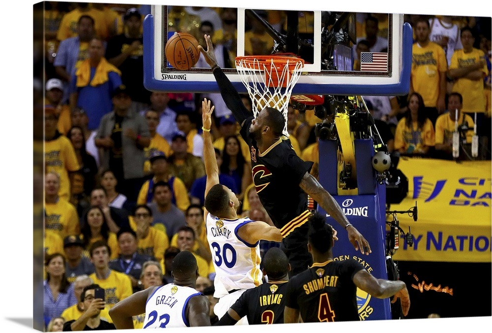 online store f14fc 51a19 LeBron James of the Cleveland Cavaliers blocks a shot by Stephen Curry