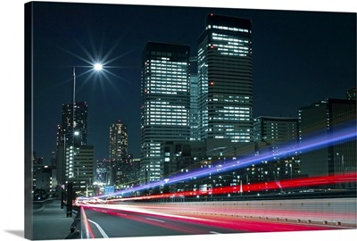 Light trails on the street in Tokyo.