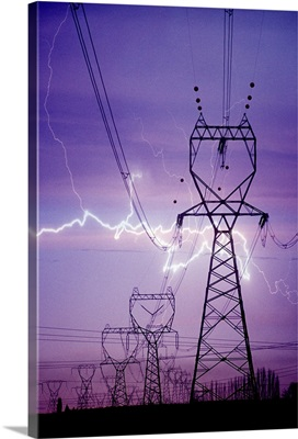 Lightning storm near powerlines.
