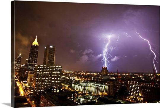 Lightning Storm over Atlanta, Georgia Wall Art, Canvas Prints ...