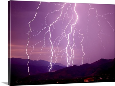 Lightning Strikes In The Foothills Near Tucson