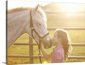 Little Girl Kissing Her Horse Wall Art Canvas Prints