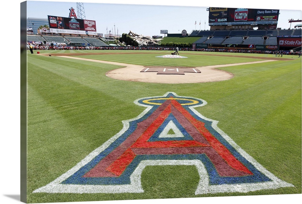 afb497db058 Los Angeles Angels logo painted on the grass at Angel Stadium ...