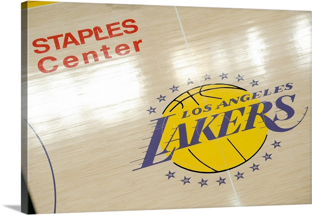 Los Angeles Lakers logo on the court at Staples Center ...