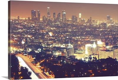 Los Angeles skyline city at night.