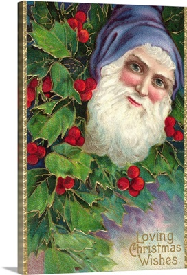 Loving Christmas Wishes Postcard With Santa Claus In Blue Cap