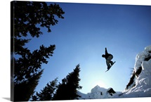 Low angle view of a person snowboarding