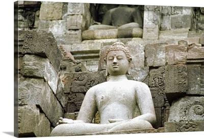 Low angle view of the Statue of Buddha, Borobudur Temle, Java, Indonesia
