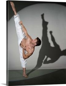 Male martial artist performing kick, studio shot