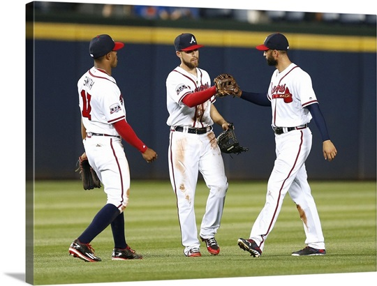 Mallex Smith, Ender Inciarte, and Nick Markakis of the Atlanta ...