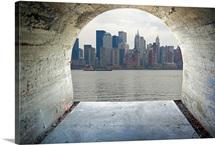 Manhattan seen through cement tunnel, New York City
