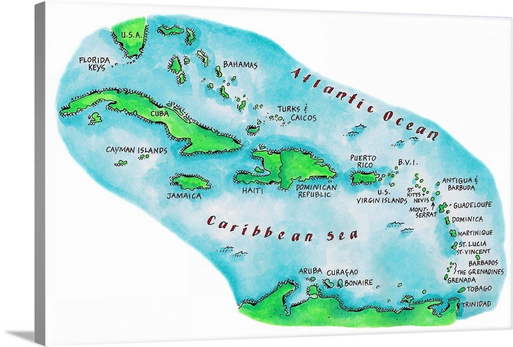 Carribbean Map on