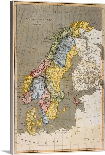 Map Of Sweden With Denmark And Norway Great Big Canvas - Sweden big map