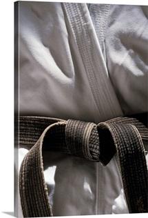 Martial arts gi with black belt